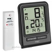 Цифровой термометр для комнаты и улицы с радиодатчиком TFA Prisma. Акц